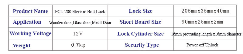 Electric Bolt Lock Size